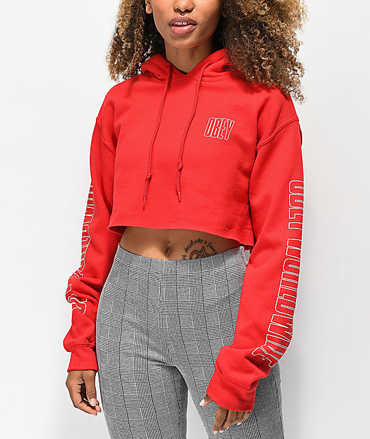 Obey Worldwide Red Crop Hoodie