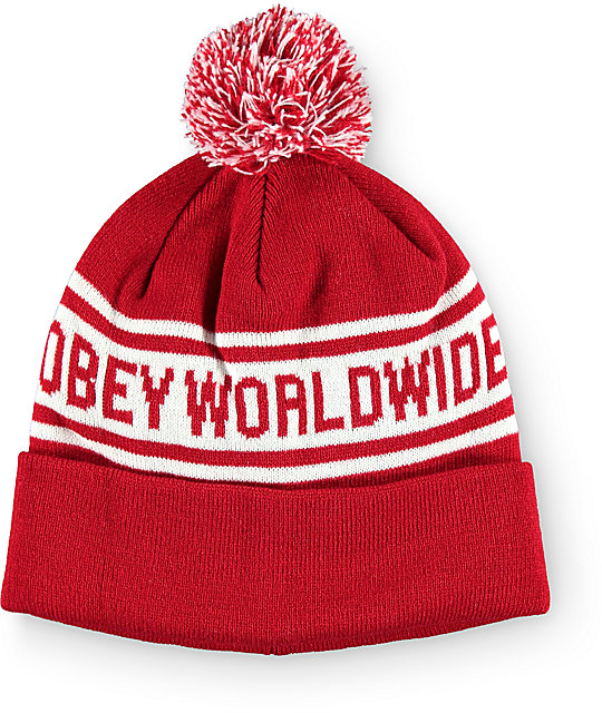 Obey Worldwide Red Pom Beanie  317e0711f