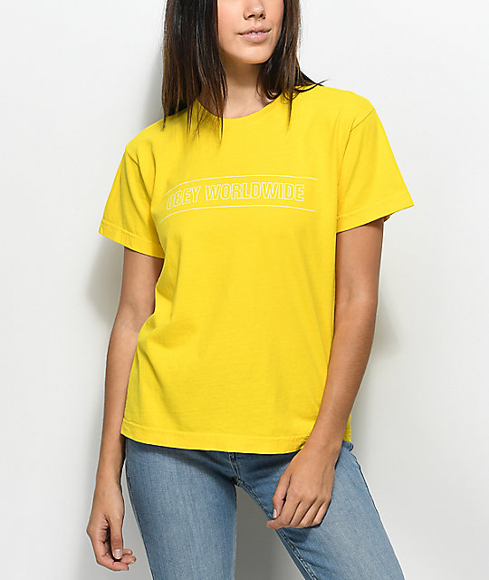 Obey Worldwide Sport Boxy Yellow T-Shirt
