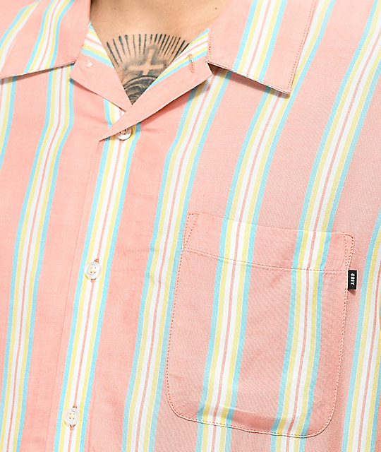 Obey York Coral Vertical Striped Short Sleeve Button Up Shirt