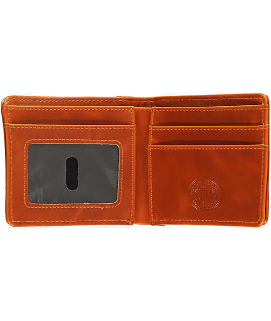 Obey Yuma Navy Blue & Brown Bifold Wallet