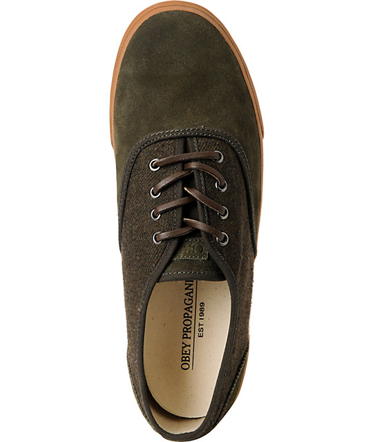 Obey x Generic Surplus Borstal Wool & Suede Olive Shoes