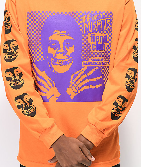 Obey x Misfits Fiend Club Halloween Orange Long Sleeve T-Shirt