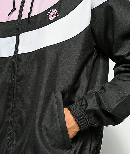 Odd Future Arc Stripe Black, Pink & White Windbreaker Jacket