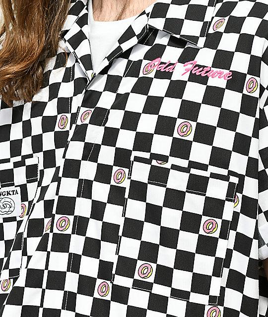 odd future checkered black white coverall zumiez