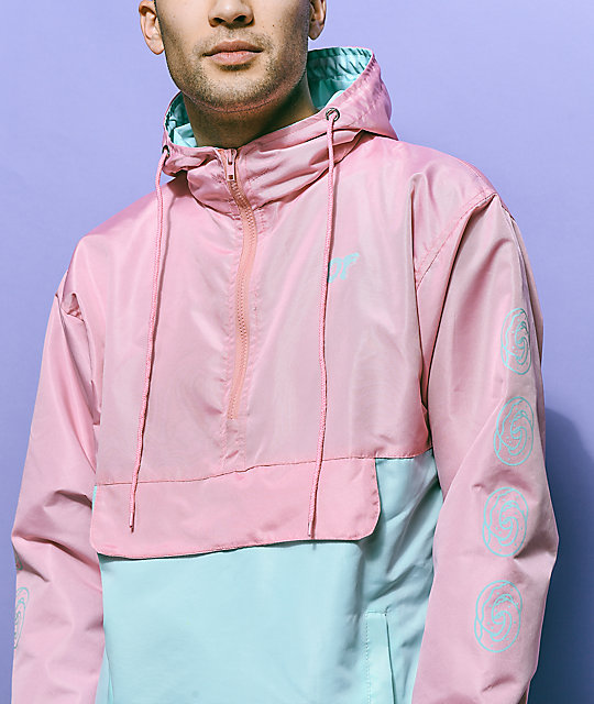 Odd Future Color Block Pink & Teal Anorak Jacket