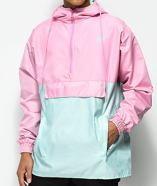 odd-future-color-block-pink-&-teal-anorak-jacket by odd-future