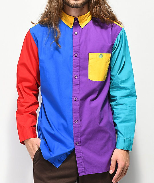 Odd Future Colorblock Button Up Shirt