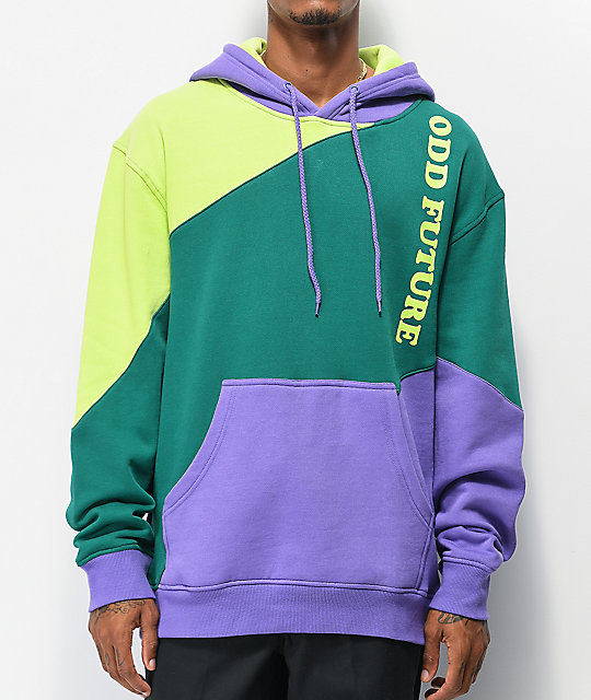 Odd Future Diagonal Mint, Purple & Green Colorblock Hoodie