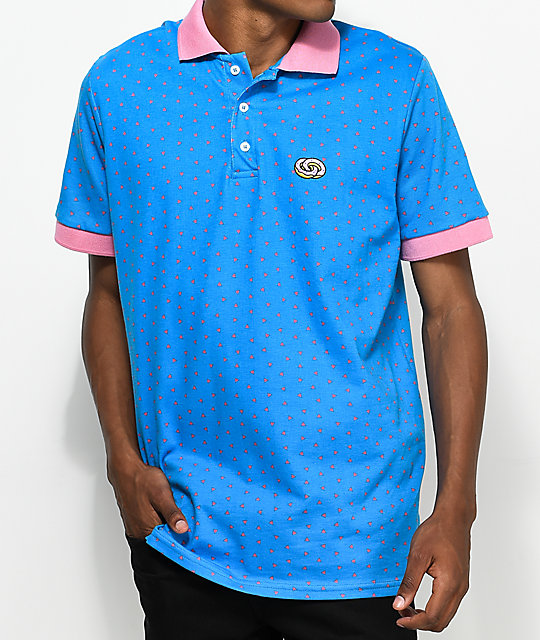 Odd Future Donut Emblem Blue & Pink Polo Shirt