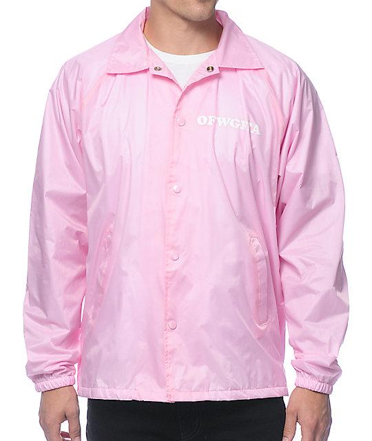 330b3225ef79 Odd Future Donut Leaf Pink Coach Jacket