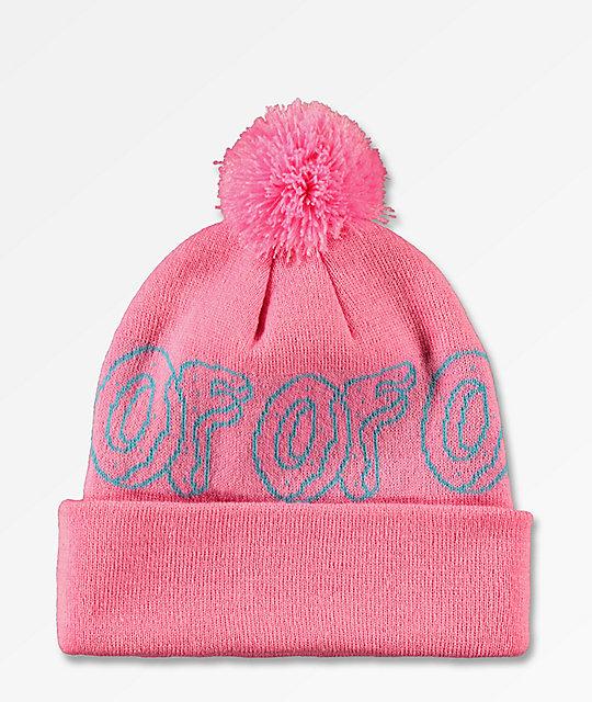 9c3b6fb48c Odd Future Logo Pink   Turquoise Pom Beanie