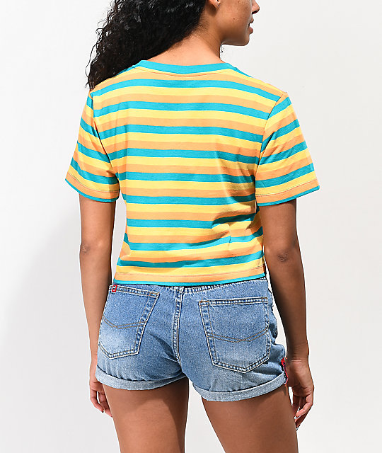 Odd Future Logo Teal, Gold & Orange Stripe Crop T-Shirt