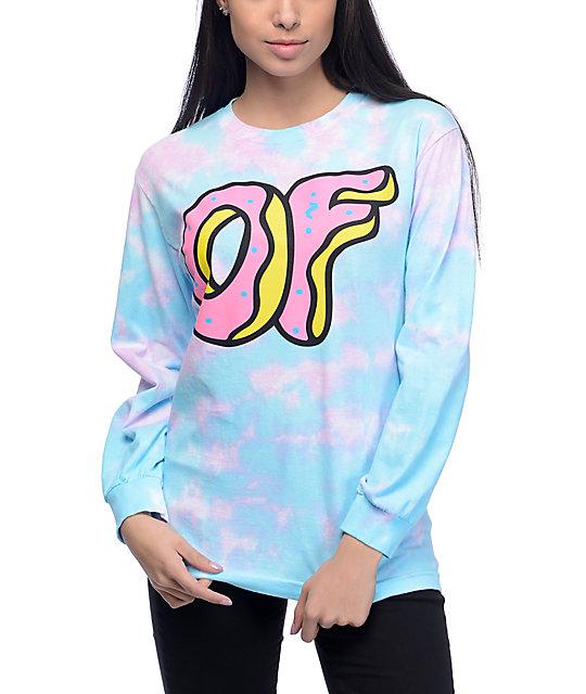 45270816faf5a6 Odd Future OF Donut Logo Blue   Pink Tie Dye Long Sleeve T-Shirt ...
