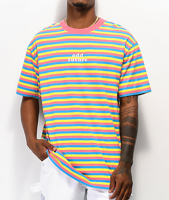 Odd Future Of Pink, Blue &Amp; Yellow Striped T Shirt by Odd Future