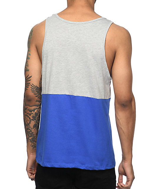 Odd Future Pink Donut Wave Grey & Blue Colorblock Tank Top