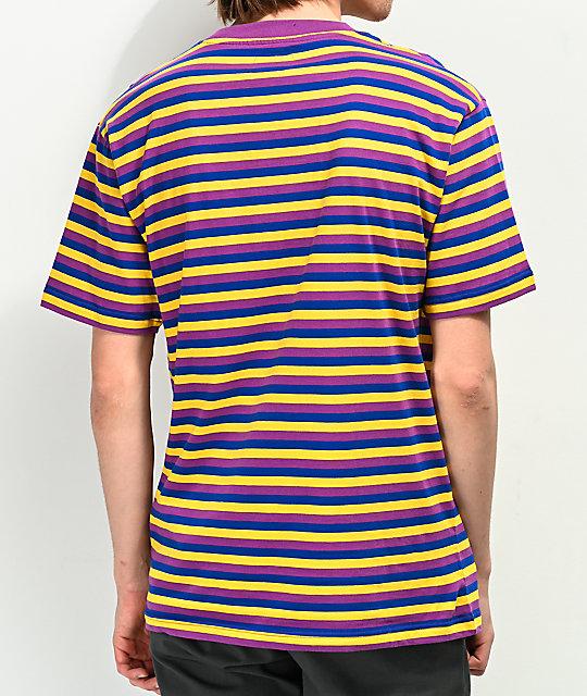 Purple Blue Yellow Striped T Shirt