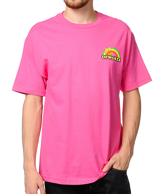 Odd Future Rainbow Cat Hot Pink T-Shirt