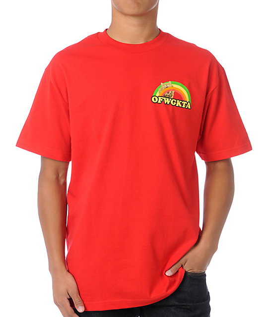 Odd Future Rainbow Cat Red T-Shirt