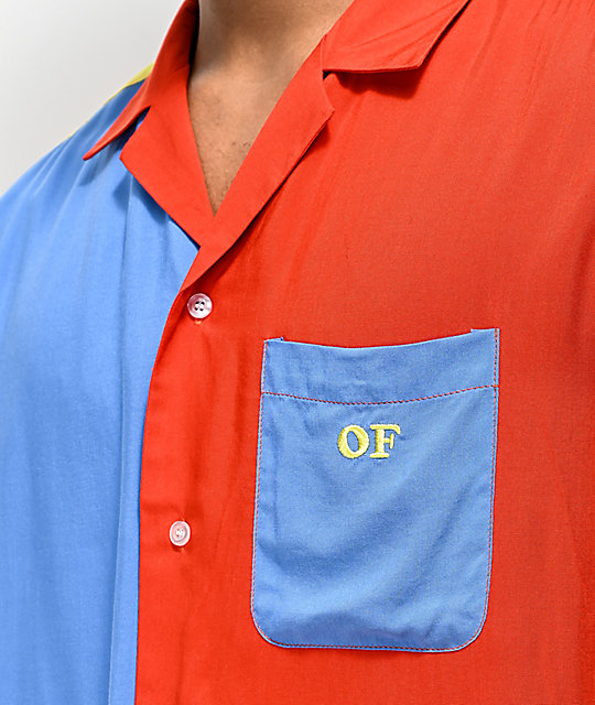 Odd Future Rayon Colorblock Woven Short Sleeve Button Up Shirt