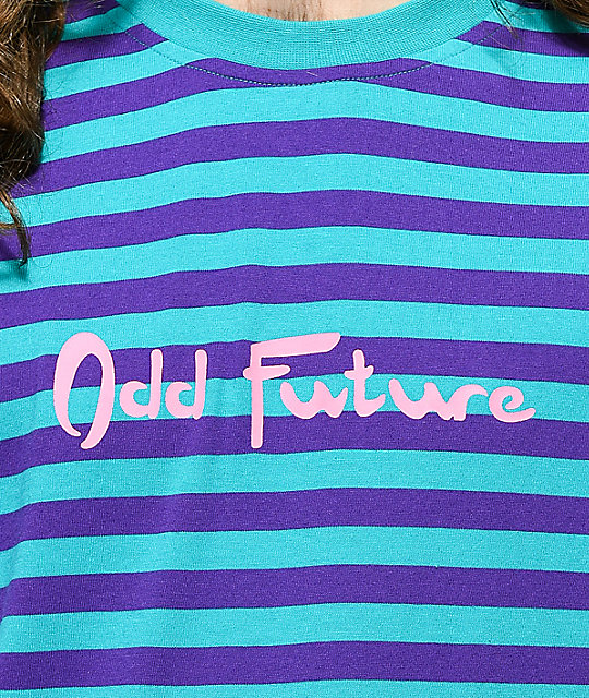 Odd Future Striped Teal & Purple Long Sleeve Shirt