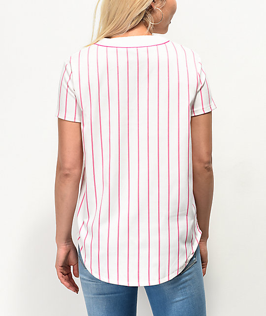 Odd Future White & Pink Striped Baseball Jersey