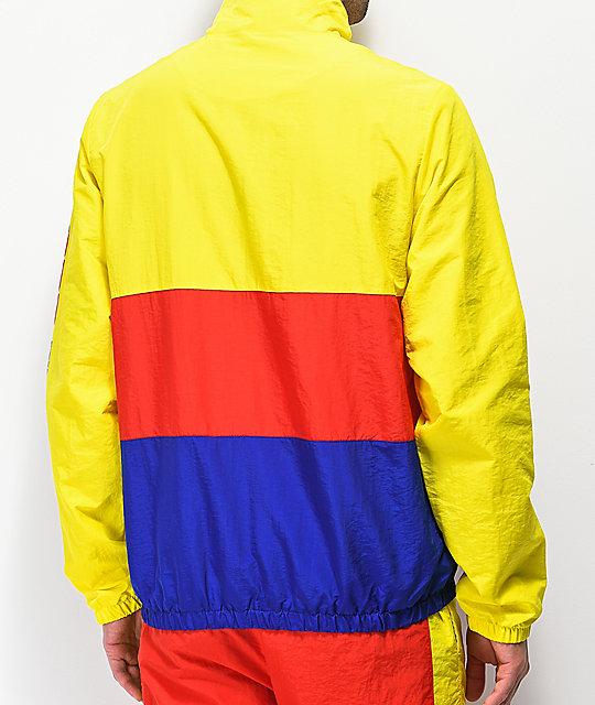 Odd Future Yellow Red Blue Colorblock Windbreaker Anorak Jacket