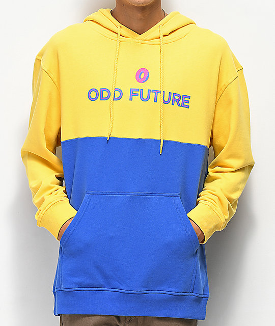 odd future yellow blue colorblock hoodie zumiez