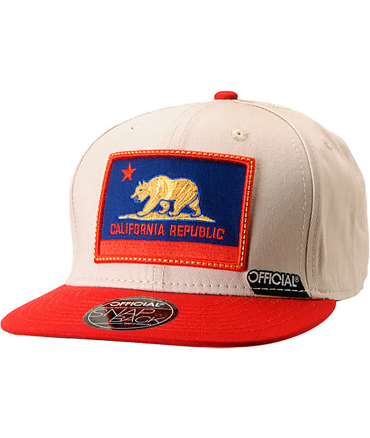 Official Cali Authentic Beige & Red Snapback Hat
