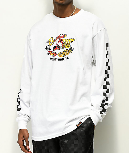 Open925 Quickie's Pit Stop White Long Sleeve T-Shirt