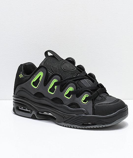 1d93e46a128 Osiris D3 2001 Black, Green & Charcoal Skate Shoes | Zumiez