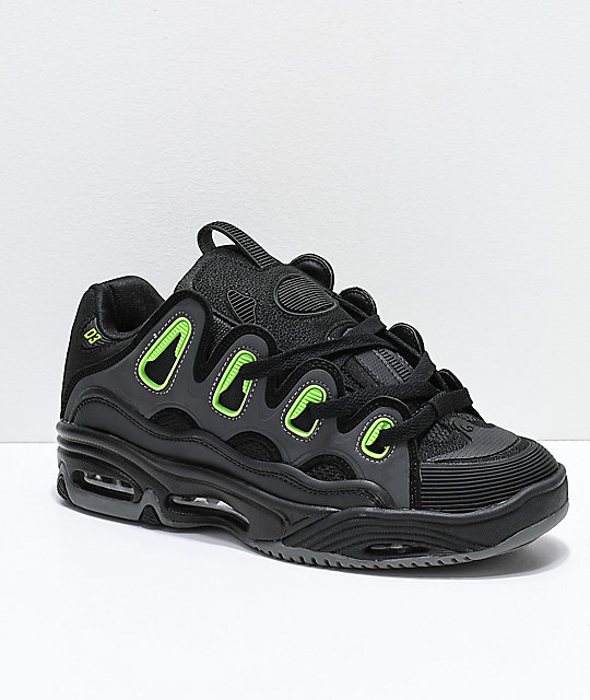 bdf94ccd6335c Osiris D3 2001 Black, Green & Charcoal Skate Shoes