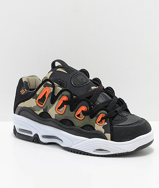 Osiris D3 2001 Black, Orange & Camo Skate Shoes