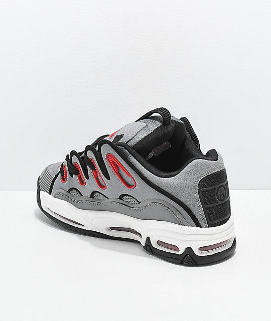 c4d6db6cf71 Osiris D3 2001 Grey, Red & Black Skate Shoes | Zumiez