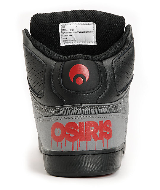 Osiris Kids NYC 83 Black Drip, Grey & Red Skate Shoes