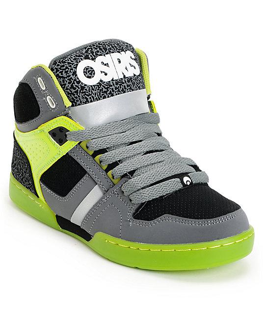 adc9eaeeca Osiris Kids NYC 83 Charcoal & Lime Green Skate Shoes | Zumiez