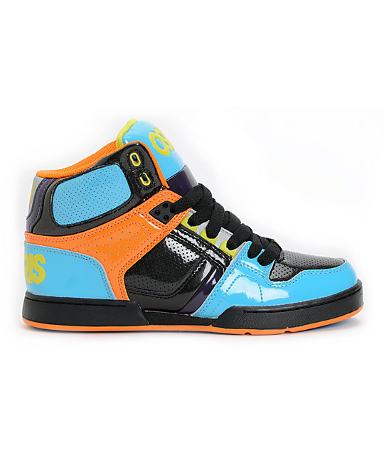 118356dabbe Osiris Kids NYC 83 Cyan, Black & Orange Skate Shoes | Zumiez