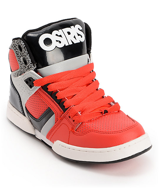 00db7732e4 Osiris Kids NYC 83 Red, Grey & Black Skate Shoes | Zumiez