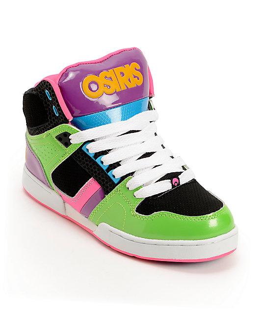 db3639ba34 Osiris Kids NYC 83 Slim Green, Black, & Purple Skate Shoes | Zumiez
