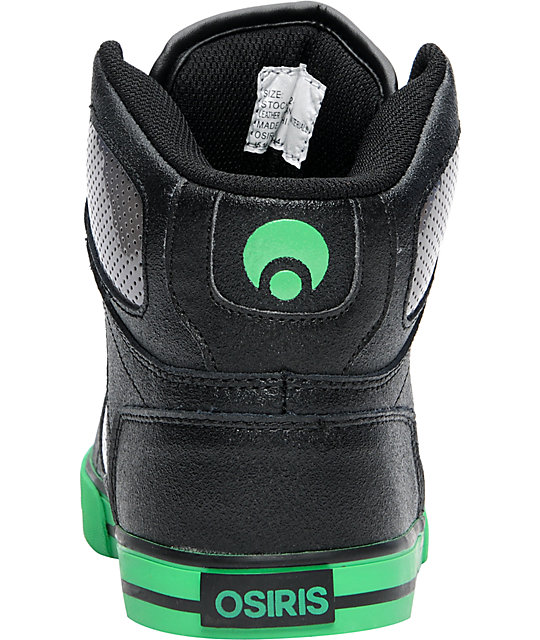 Osiris Kids NYC 83 VLC Black, Gunmetal & Green Shoes