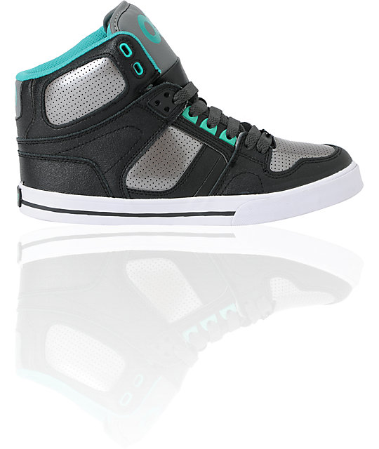 Osiris Kids NYC 83 VLC Black, Gunmetal & Teal Skate Shoes