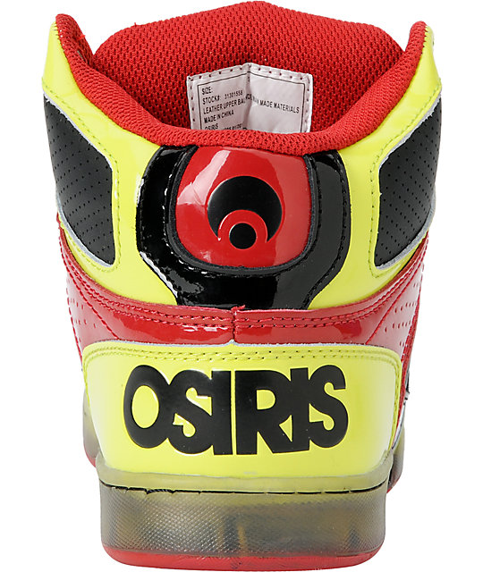 Osiris Kids NYC 83 Yellow, Black & Red Skate Shoes