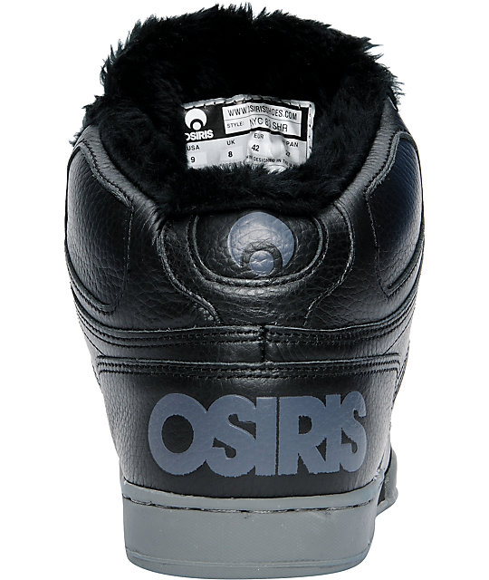 Osiris NYC 83 Black, Chrome & Sherpa Shoes