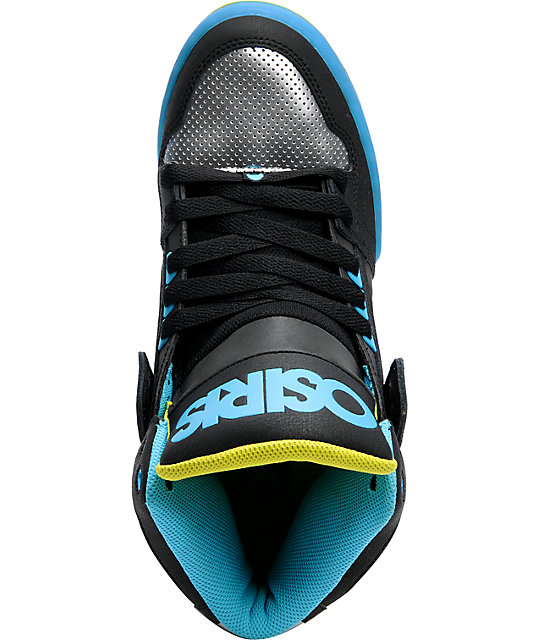 Osiris NYC 83 Black, Gun, & Cyan High Top Shoes
