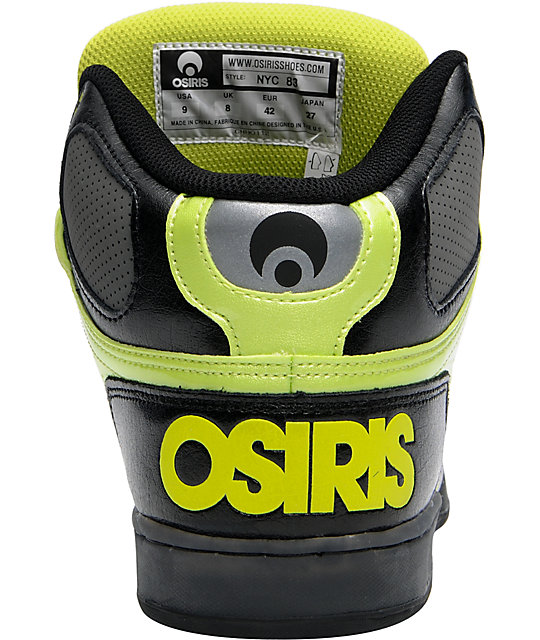 Osiris NYC 83 Black, Lime & Chrome Skate Shoes