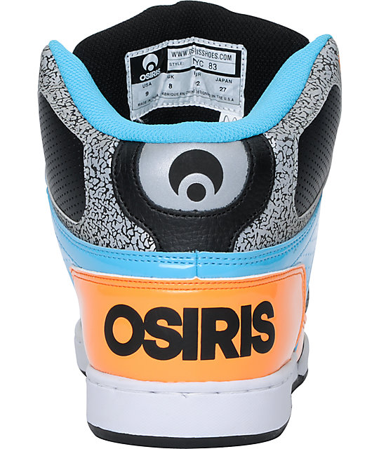 Osiris NYC 83 Black, Orange, & Cyan Mens High Top Skate Shoes