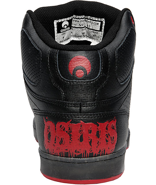 Osiris NYC 83 Black, Red, & Clear Skate Shoes