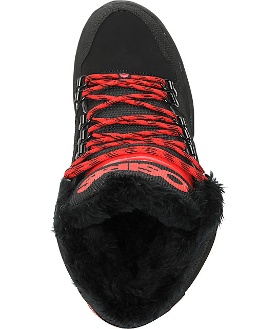 Osiris NYC 83 Black, Red & Shearling Shoes