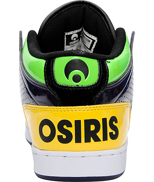 Osiris NYC 83 Mid Black, Lime, & Yellow Shoes