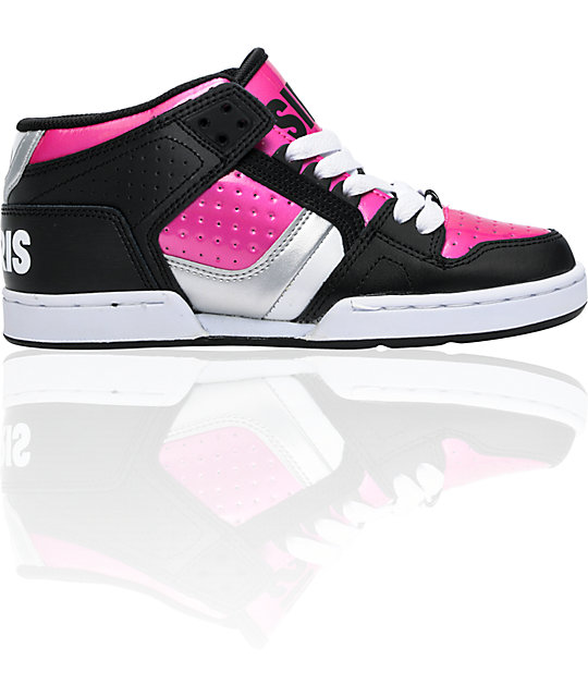 Osiris NYC 83 Mid Black, Pink, & White Shoes